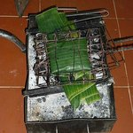 fish in banana leaf cooking