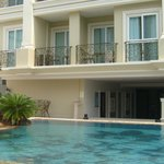 Across swimming pool to hotel facade