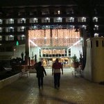 Front of Hotel with Some of the Christmas decorations.
