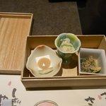 小鉢三種 (・ホワイトアスパラ豆腐 ・菜の花の辛子浸し・卯の花煮)