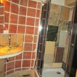 compact bathroom with great shower