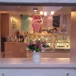 Pretty flowers in the window and lots of ice creams behind