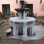 Frozen fountain outside reception