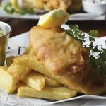 Fresh fish and chips, home made tartare sauce