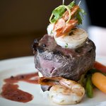 Filet Mignon Topped with Pan Seared Black Tiger Shrimp