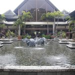 The lobby and lounges surround this beautiful fountain area