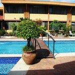 piscina separando area de habitaciones y comedor.