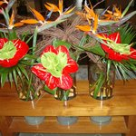 Flower display in the reception area