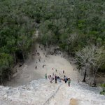 looking down from the top of Coba