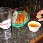 Delicious egg rolls with chili sauce 4 of 'em $6. 95.