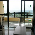 From room onto balcony