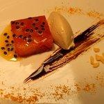 citrus terrine with liquorish and white chocolate moose, liquorish sirup, orange powder, passion