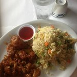 General Tso's lunch plate with amazing eggy fried rice