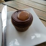 Salted caramel and chocolate cupcake. Delish!