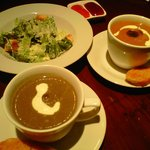 Caesar Salad, Creamy Tomato Basil Soup w/ Green Pesto Drops, & Creamy Mushroom Soup w/ Truffle O