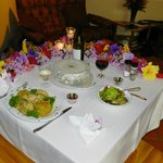 """Dinner in our bungalow; typical """"date night dinner"""" at The Coffee Estate Inn"""