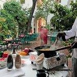 Chef cooking at Carte Blanche, Hotel de l'Orient