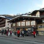 Some skiers awaiting the free ski bus