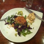 Piping hot Cornish crabcake (already started!) tasty!