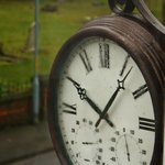 Clock (accurate!) on front wall of Linthorpe Guest House
