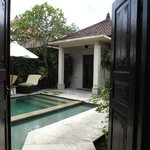 Looking through the large double doors in to  villa