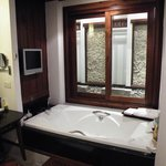 Large bath complete with TV and personal water feature outside