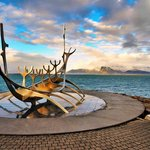 The Sun Voyager and Mount Esja