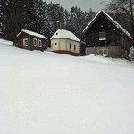 Farm outbuildings in snow