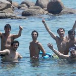En Blue Lagoon con amigos