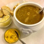 Fish soup with cheese and toasted bread with mayo-mustard dip