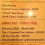 Lobster Fest Menu