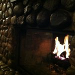 Roaring gas fireplace