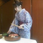 Our Kobe Beef being prepared by our Geisha