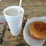 caramel malt and cheesburger