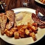 Two Eggs (medium, with strip bacon and multigrain toast, for $9)