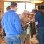Rick Taylor - demonstrating wood turning to some spanish wood turners