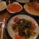 from left to right. Pilau rice, tikka masala, lamb banger, chilli naan :)
