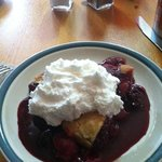 homemade berry pie with real homemade whipped cream!