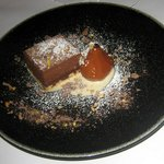 delicious chocolate cake with poached pear