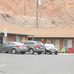 Motel surrounded by red rock mountains