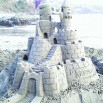 sand castle in front hotel restaurant