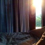 lever de soleil juste dans l'axe de notre chambre : magique!