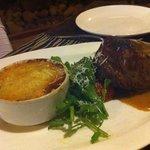 Steak, Gratin Dauphinois, Salad