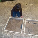 The dig site. They made it very realistic, with bones, fossils and teeth to find.