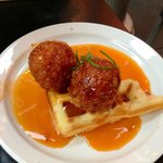 """waffle with bacon and chicken """"croquettes"""""""
