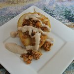 Poached Pear with granola