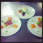 Goats cheese panacotta with goats cheese Bon Bon & Smoked duck breast with cel