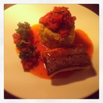 British sea fish - herb butter mash, ratatouille, curly kale & sun blush tomat