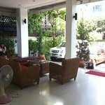 Outside patio of apartment. Very spacious urban oasis. Very quiet at night, bu