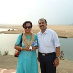 With spouse at the site